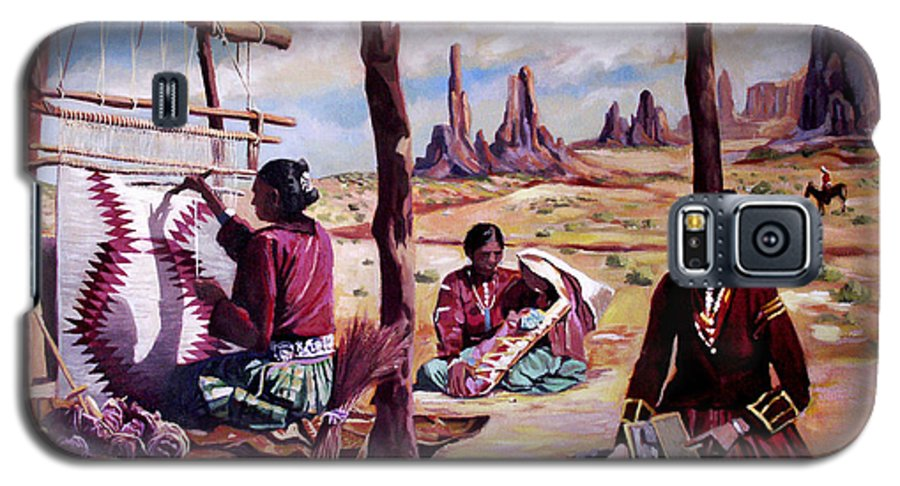 Native American Galaxy S5 Case featuring the painting Navajo Weavers by Nancy Griswold