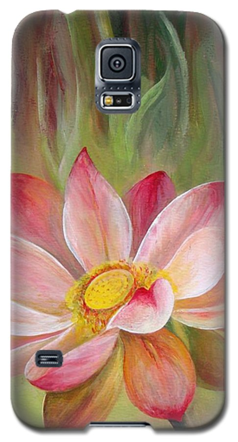 Flower Galaxy S5 Case featuring the painting Nenuphar by Muriel Dolemieux