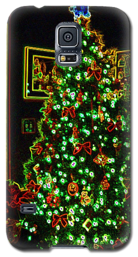 Christmas Galaxy S5 Case featuring the photograph Neon Christmas Tree by Nancy Mueller