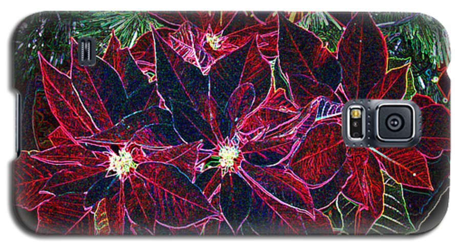 Flowers Galaxy S5 Case featuring the photograph Neon Poinsettias by Nancy Mueller
