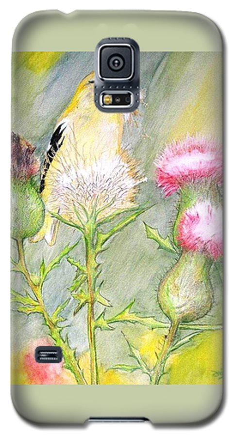 Goldfinch Galaxy S5 Case featuring the painting Nest Fluff by Debra Sandstrom