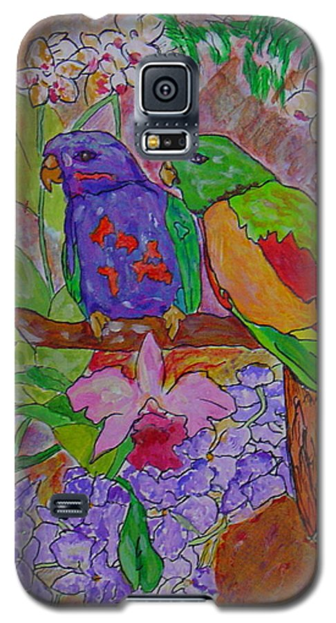 Tropical Pair Birds Parrots Original Illustration Leilaatkinson Galaxy S5 Case featuring the painting Nesting by Leila Atkinson