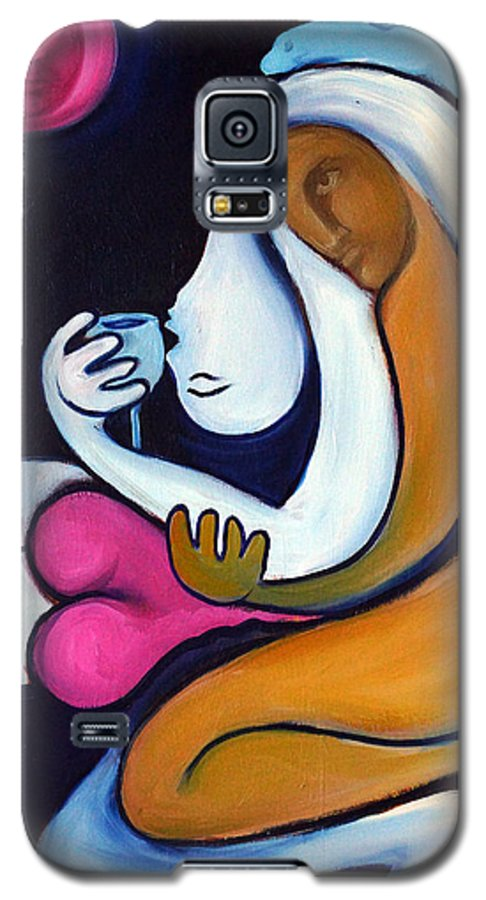 Abstract Galaxy S5 Case featuring the painting Never Tear Us Apart by Valerie Vescovi