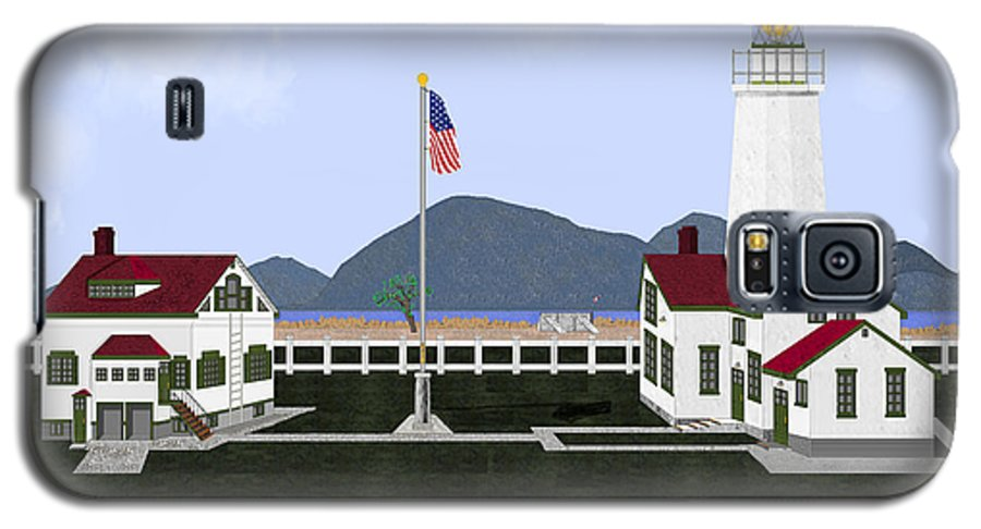 Lighthouse Galaxy S5 Case featuring the painting New Dungeness Lighthouse At Sequim Washington by Anne Norskog
