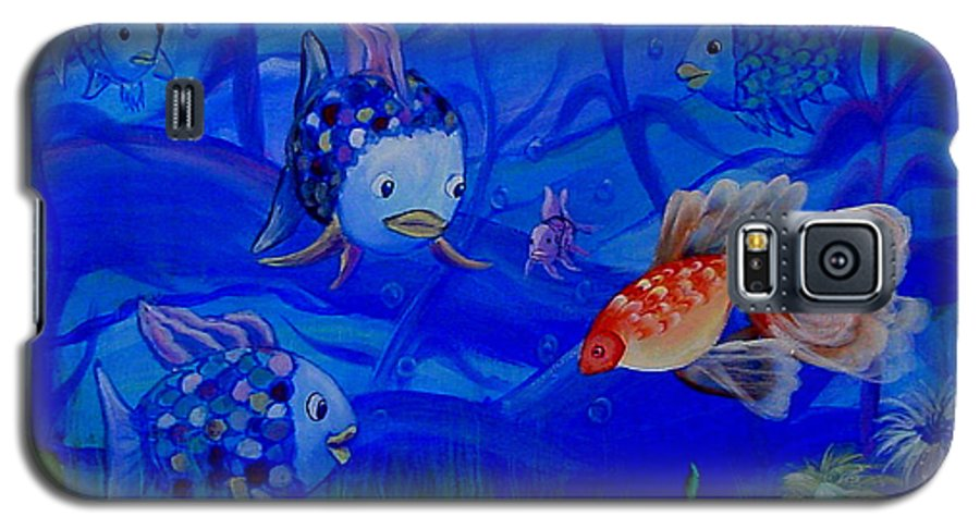 Fish Galaxy S5 Case featuring the painting New Kid In Town by Quwatha Valentine