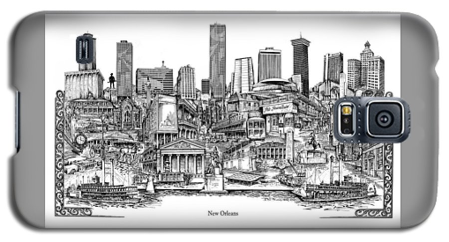 City Drawing Galaxy S5 Case featuring the drawing New Orleans by Dennis Bivens