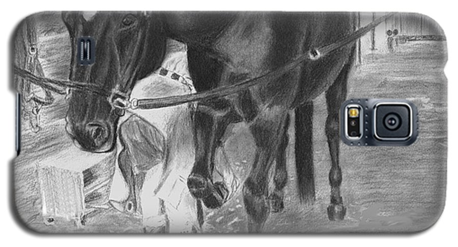 Horse Galaxy S5 Case featuring the drawing New Shoes by Quwatha Valentine
