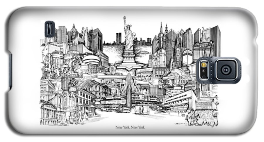 City Drawing Galaxy S5 Case featuring the drawing New York by Dennis Bivens