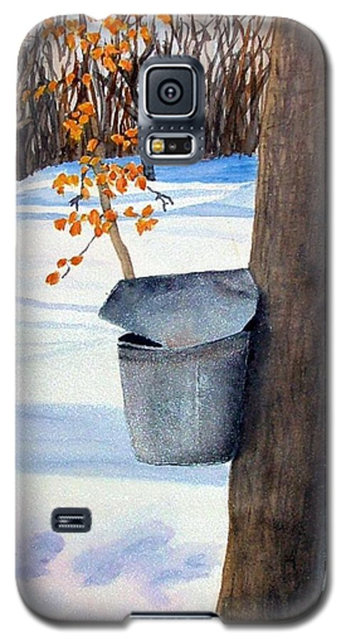 Sap Bucket. Maple Sugaring Galaxy S5 Case featuring the painting Nh Goldmine by Sharon E Allen
