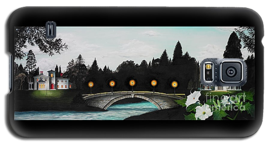 Architecture Galaxy S5 Case featuring the painting Night Bridge by Melissa A Benson