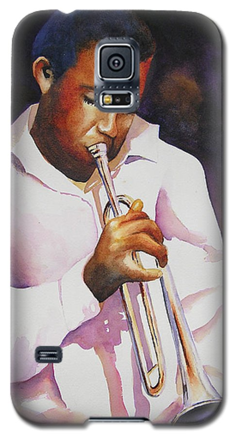 Trumpet Galaxy S5 Case featuring the painting Night Music by Karen Stark