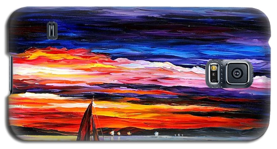 Seascape Galaxy S5 Case featuring the painting Night Sea by Leonid Afremov
