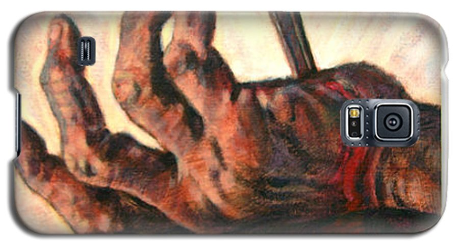 Christ Galaxy S5 Case featuring the painting No Greater Love by John Lautermilch