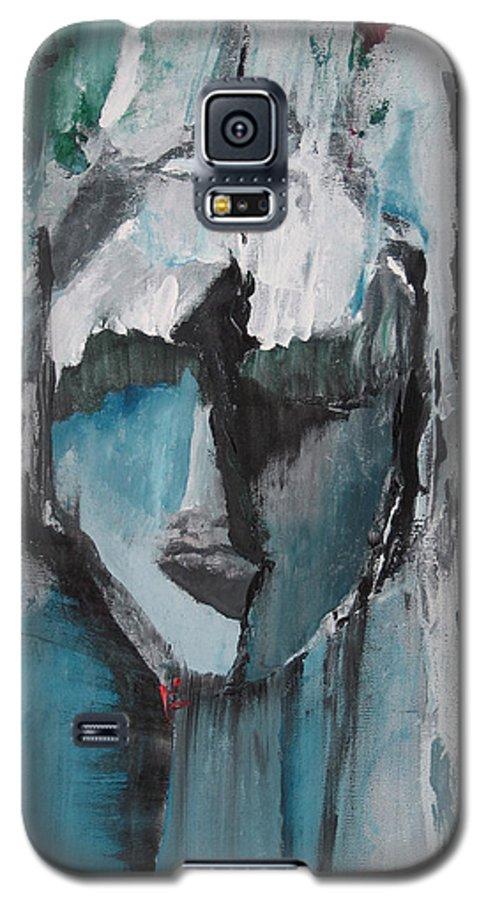 Abstract Acrylic Blue Darkestartist Nobody Portrait Darkest Artist Face Galaxy S5 Case featuring the painting Nobody by Darkest Artist