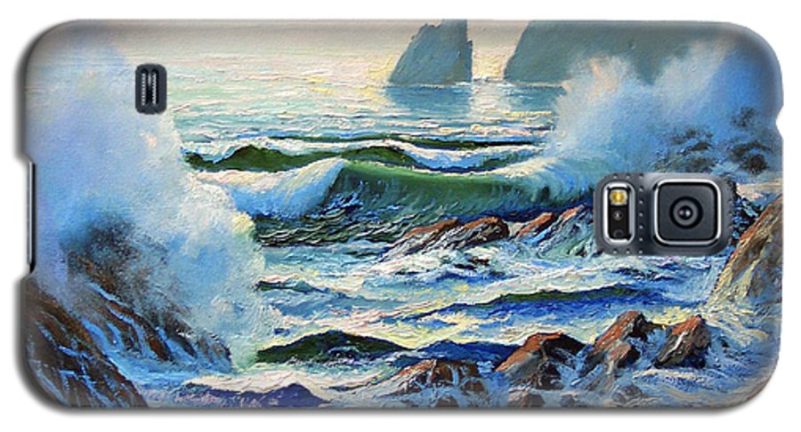Seascape Galaxy S5 Case featuring the painting North Coast Surf by Frank Wilson