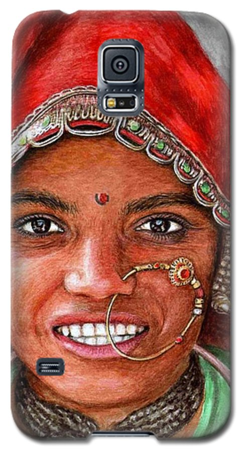 Woma Galaxy S5 Case featuring the painting Northindian Woman by Nicole Zeug
