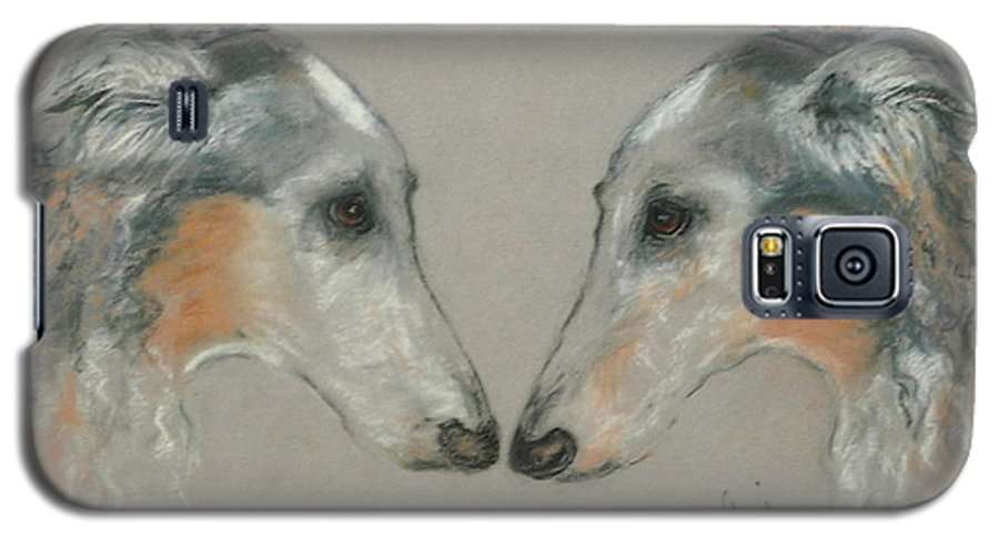 Dog Galaxy S5 Case featuring the drawing Nose To Nose by Cori Solomon