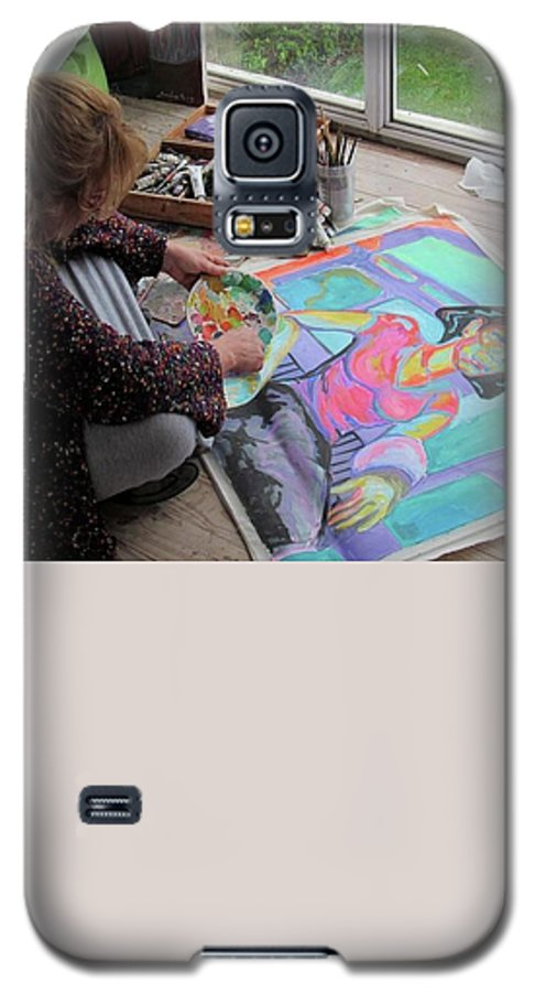 Landscape Galaxy S5 Case featuring the painting Nude by Raquel Sarangello
