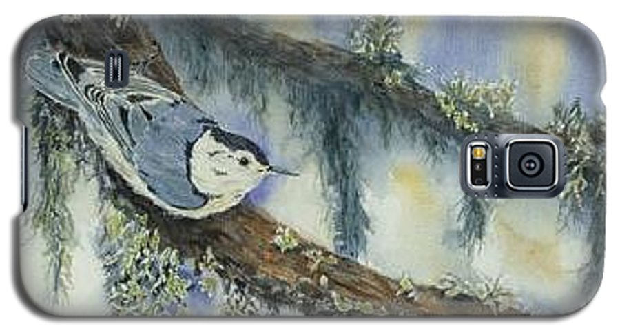 Nuthatch Galaxy S5 Case featuring the painting Nuthatch by Dolores Fegan