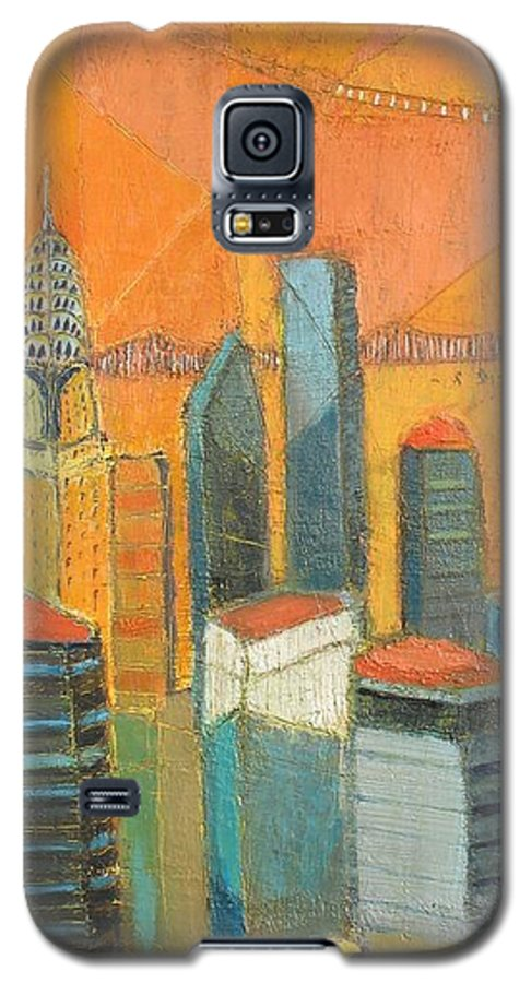 Galaxy S5 Case featuring the painting Nyc In Orange by Habib Ayat