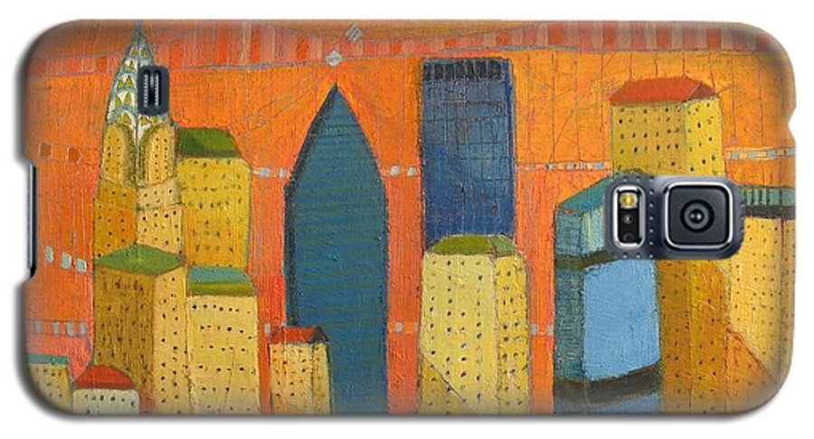 Abstract Cityscape Galaxy S5 Case featuring the painting Nyc With Chrysler by Habib Ayat