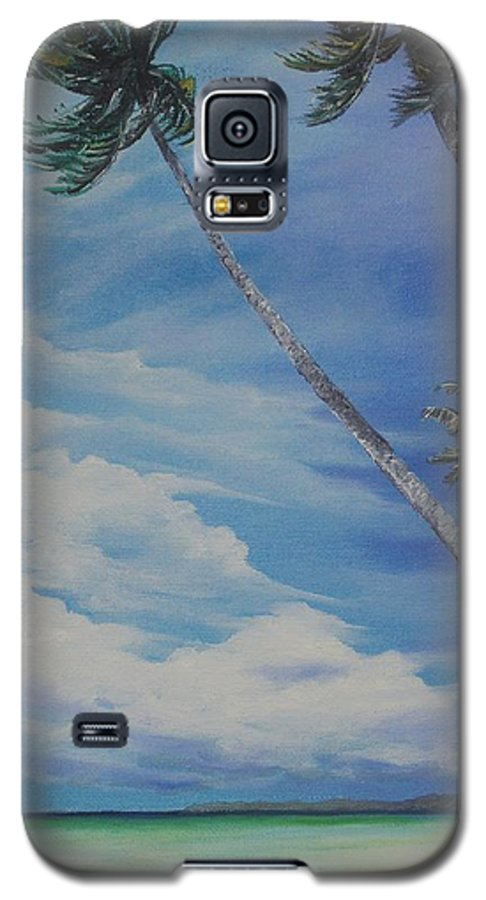 Trinidad And Tobago Seascape Galaxy S5 Case featuring the painting Nylon Pool Tobago. by Karin Dawn Kelshall- Best
