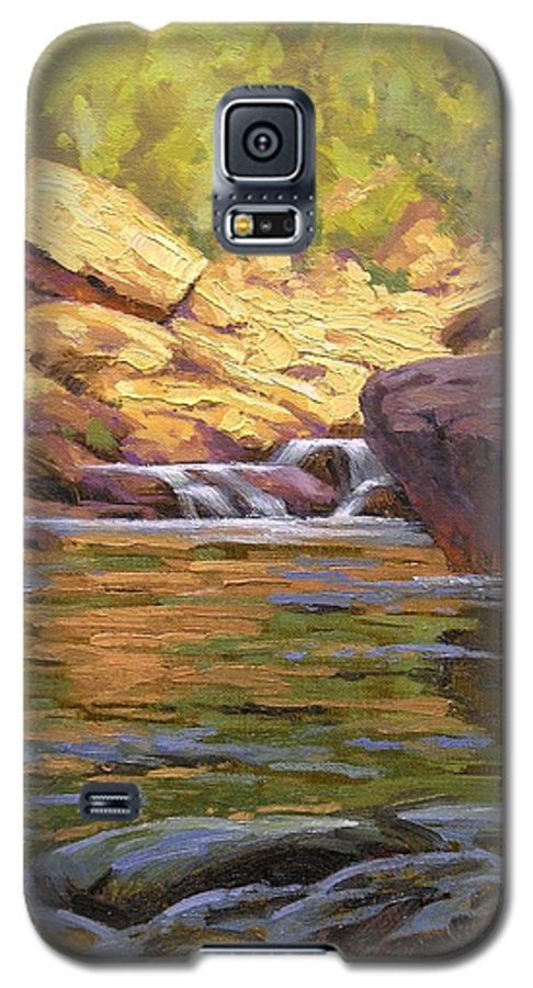 Water Scene Galaxy S5 Case featuring the painting Oak Creek Tributary by Cody DeLong