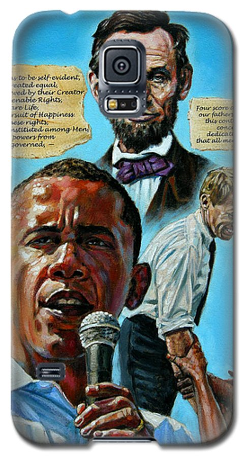 Obama Galaxy S5 Case featuring the painting Obamas Heritage by John Lautermilch
