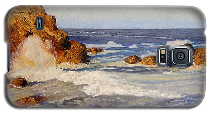 Seascape Galaxy S5 Case featuring the painting Ocean Rock by Quwatha Valentine