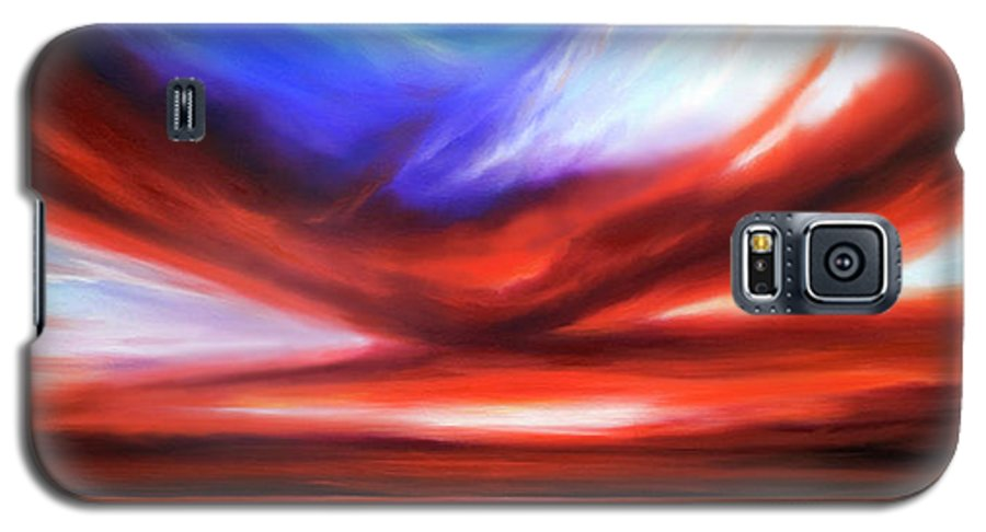 Sunrise; Sunset; Power; Glory; Cloudscape; Skyscape; Purple; Red; Blue; Stunning; Landscape; James C. Hill; James Christopher Hill; Jameshillgallery.com; Ocean; Lakes; Storm; Tornado; Lightning Galaxy S5 Case featuring the painting October Sky V by James Christopher Hill
