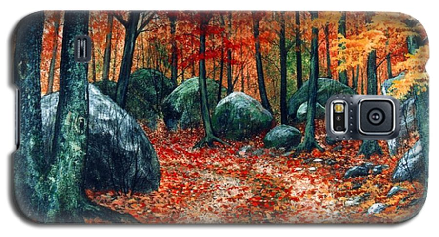 Landscape Galaxy S5 Case featuring the painting October Woodland by Frank Wilson