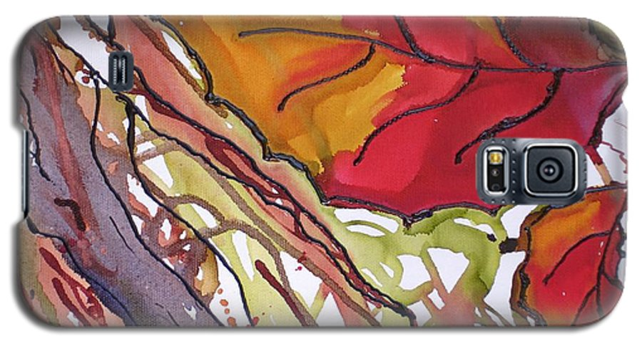 Leaf Galaxy S5 Case featuring the mixed media Octobersecond by Susan Kubes