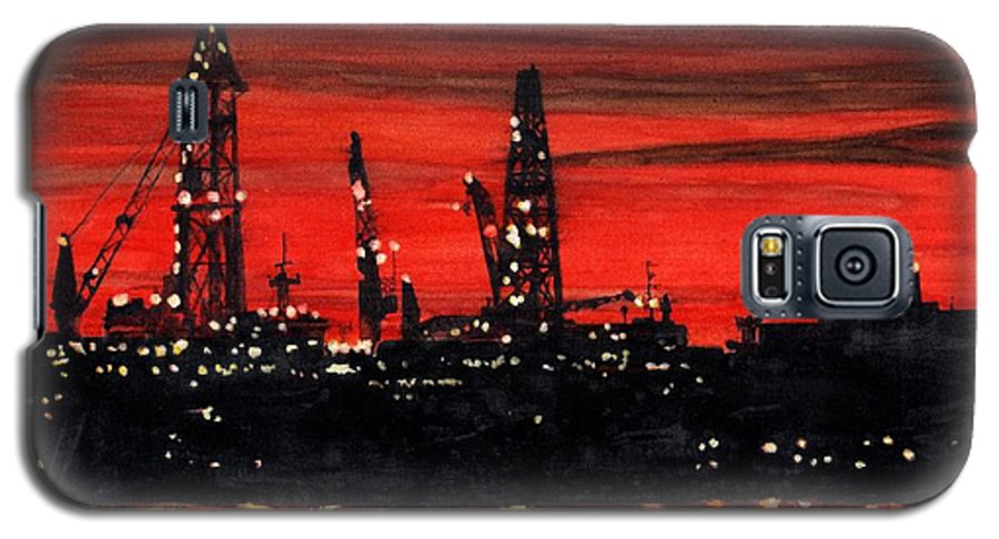 Cityscape Galaxy S5 Case featuring the painting Oil Rigs Night Construction Portland Harbor by Dominic White