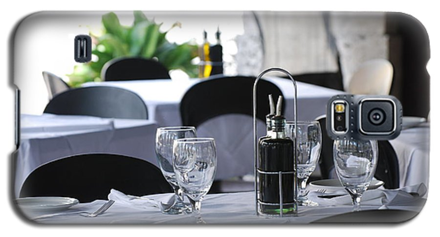 Tables Galaxy S5 Case featuring the photograph Oils And Glass At Dinner by Rob Hans