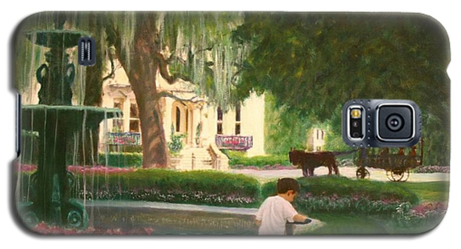 Savannah; Fountain; Child; House Galaxy S5 Case featuring the painting Old And Young Of Savannah by Ben Kiger