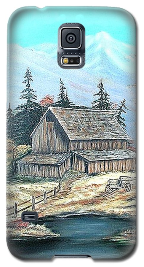 Landscape Pond Wagon Old Trees Mountain Galaxy S5 Case featuring the painting Old Barn Above The Pond by Kenneth LePoidevin
