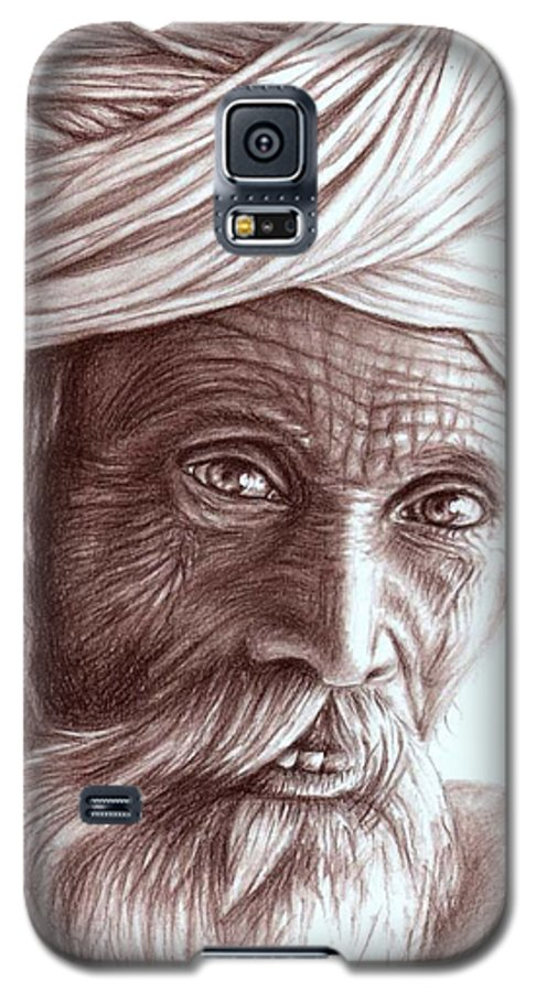 Man Galaxy S5 Case featuring the drawing Old Indian Man by Nicole Zeug