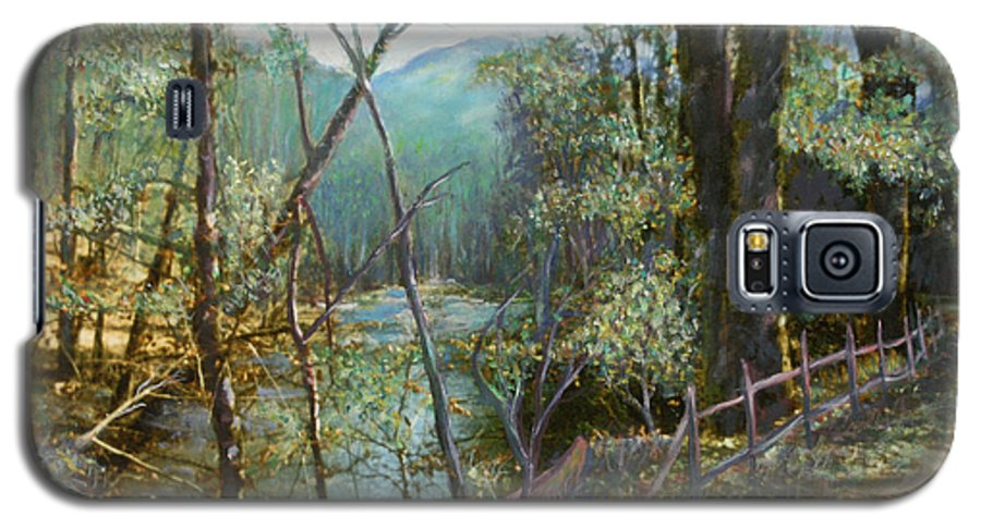 River; Trees; Landscape Galaxy S5 Case featuring the painting Old Man River by Ben Kiger