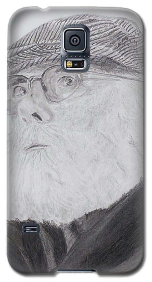 Portrait Galaxy S5 Case featuring the drawing Old Man With Beard by Quwatha Valentine