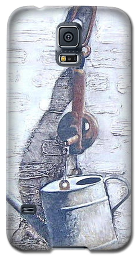 Old Metal Still Life Galaxy S5 Case featuring the painting Old Metal by Natalia Tejera