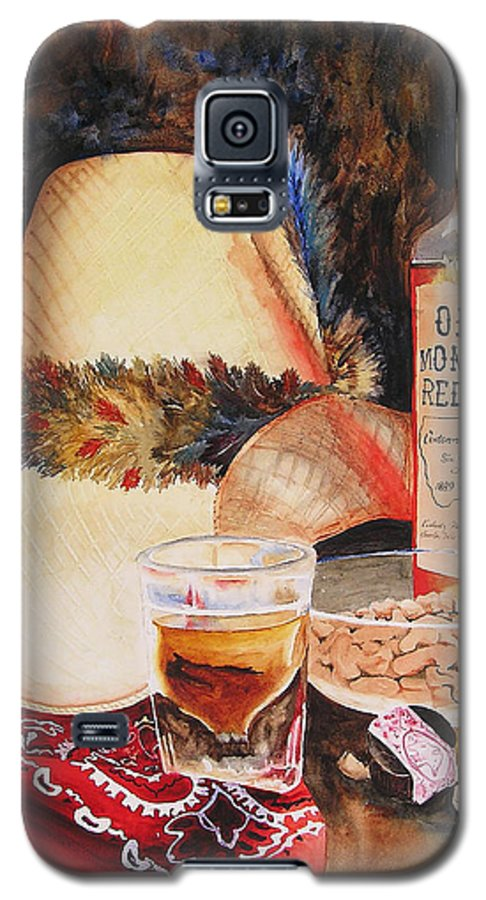 Whiskey Galaxy S5 Case featuring the painting Old Montana Red Eye by Karen Stark