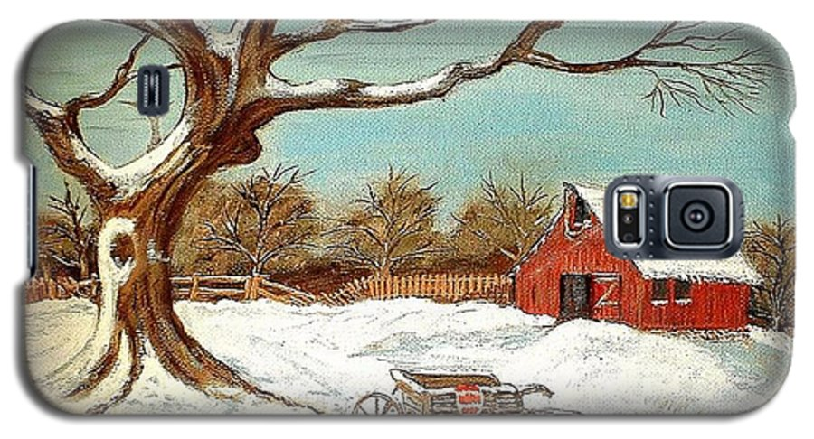 Old Tree Barn Wheelbarrow Snow Winter Painting Galaxy S5 Case featuring the painting Old Tree And Barn by Kenneth LePoidevin