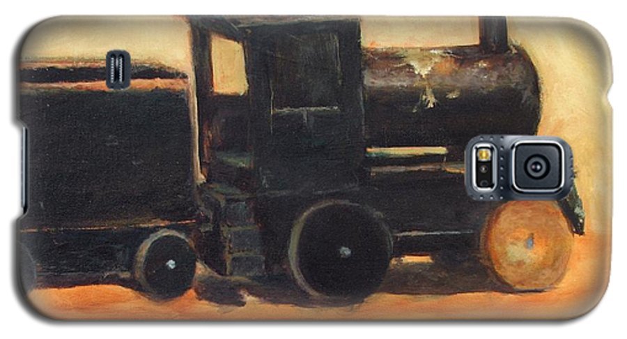Trains Galaxy S5 Case featuring the painting Old Wood Toy Train by Chris Neil Smith