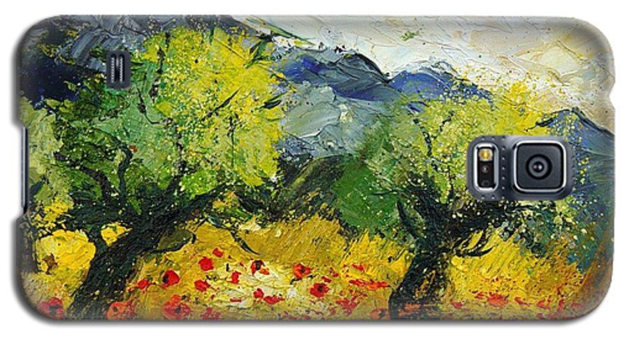 Flowers Galaxy S5 Case featuring the painting Olive Trees And Poppies by Pol Ledent