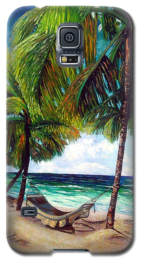 Beach Galaxy S5 Case featuring the painting On The Beach by Jose Manuel Abraham