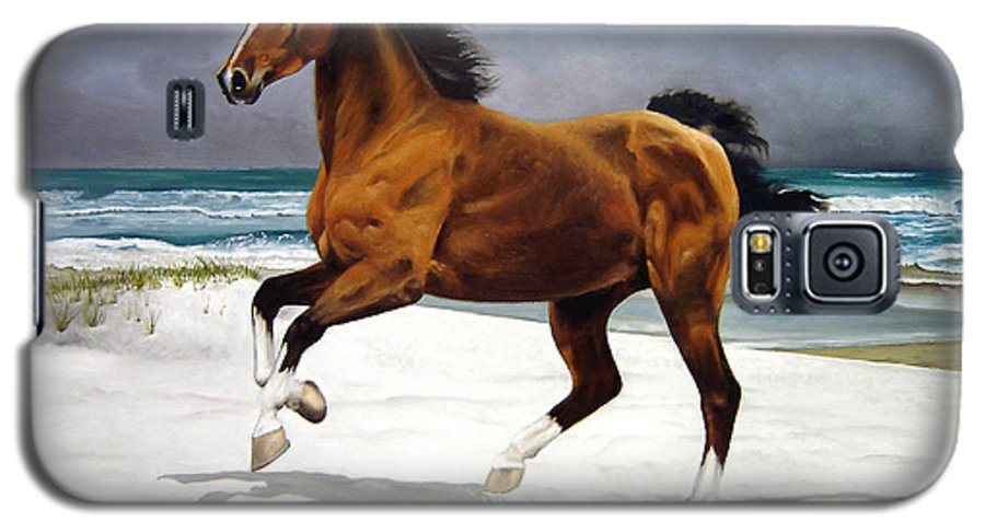 Horse Galaxy S5 Case featuring the painting On The Beach by Marc Stewart