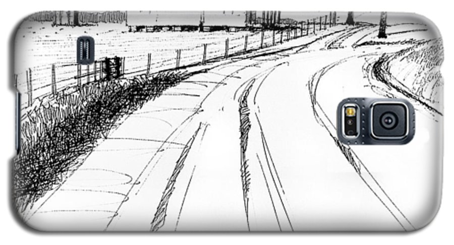 Landscape Galaxy S5 Case featuring the drawing On The County Line by Peter Muzyka