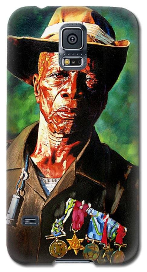 Black Soldier Galaxy S5 Case featuring the painting One Armed Soldier by John Lautermilch