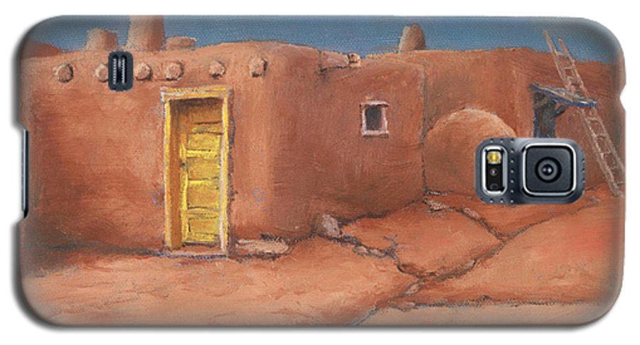 Taos Galaxy S5 Case featuring the painting One Yellow Door by Jerry McElroy
