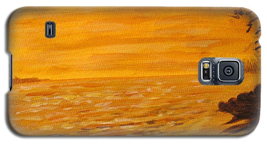 Ocean Galaxy S5 Case featuring the painting Orange Beach by Ian MacDonald